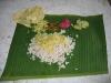 Ein Mittagessen auf dem Bananenblatt