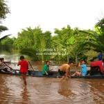 Überschwemmung in Luang Prabang / Laos - da wird gleich das Boot rausgeholt.