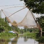 Fischernetz in einem der kleinen Kanäle.