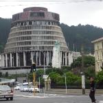 Das Beehive Parliament Gebäude von Wellington