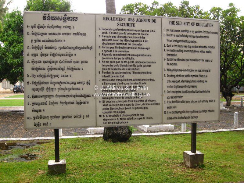 """""""Verhörregeln"""" für das Toul Sleng Genocide Museum (S-21) in Phnom Penh"""
