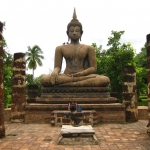 Buddha image with the posture of Calling the Earth to witness im Wat Mahathat, Historical Park von Sukhothai / Thailand