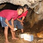 Die Jungs beleuchten uns mit einer Autobatterie die Anahulu Caves